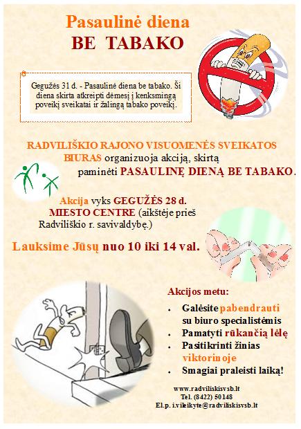 Akcija Radviliškio miesto centre, skirta  paminėti Pasaulinę dieną be tabako