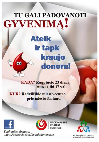 Kraujo donorystės akcija Radviliškio mieste @ Radvililiškio miesto centras, prie miesto fontano