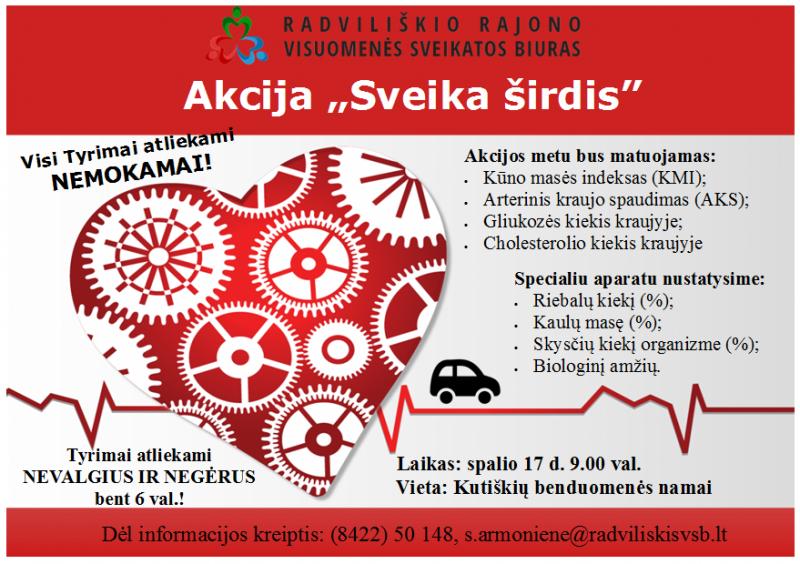 """Akcija """"Sveika širdis"""" Kutiškiuose @ Kutiškių bendruomenės namai"""